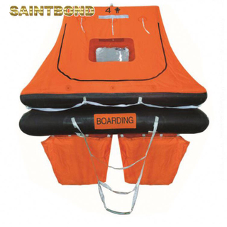 Marine grade certified inflatable self-righting life raft